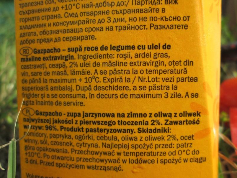 Gazpacho z Lidla - skład całkiem zachęcający.