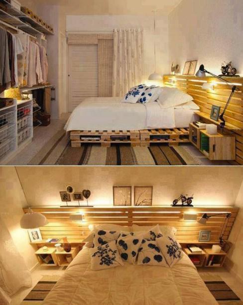 Piękna konstrukcja małżeńskiego łoża z palet.